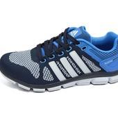 Мужские кроссовки Adidas feather prime 9353 синие (реплика)