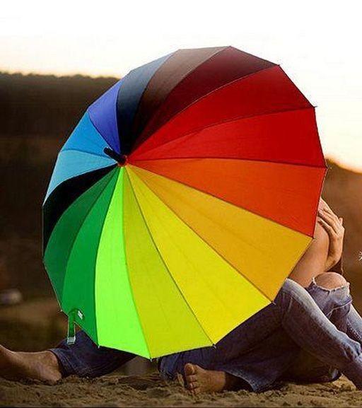 Хит продаж! женский яркий зонт трость радуга полуавтомат купол 110 см фото №1