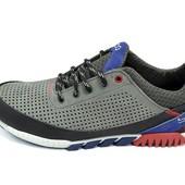 Мужские кроссовки с перфорацией Ecco Е7 серые