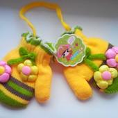 Зимние рукавички для девочки 6 мес. - 2 лет