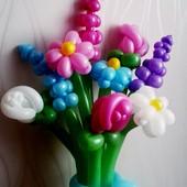Букет з кульок (букет из шаров) квіти з повітряних кульок, цветы из шаров