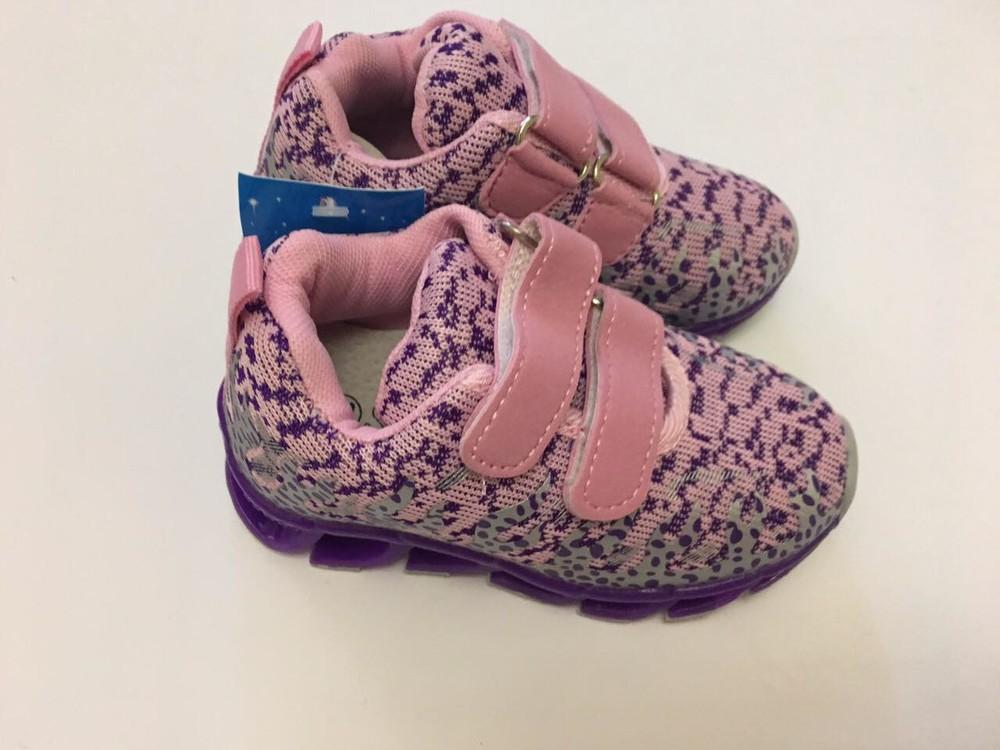 Кроссовки фиолетовые микрофибра для девочки фото №1