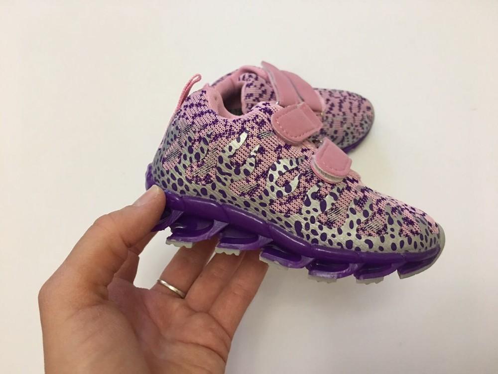 Кроссовки фиолетовые микрофибра для девочки фото №2