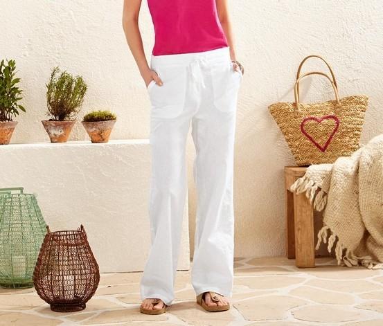 Всего 250 грн! льняные штаны, белые, евро размер  42 (наш 48), tcm, tchibo, германия фото №1