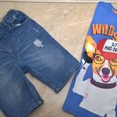 Джинсовые шорты Denim co 122/футболка Zeeman