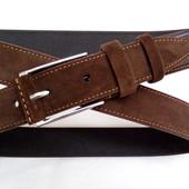 Замшевый ремень 35 мм коричневый пряжка классическая с кожаной вставкой