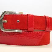 Замшевый ремень на джинсы и брюки мужской женский 40 мм комбинированный цвет рыжий/коричневый пряжка