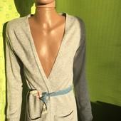 Теплый вязанный халат на запах H&M Logg с альпакой размер 12