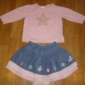 Джинсовая юбка и трикотажная кофточка