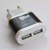 Зарядное Usb адаптер 5В,  2A на 2 usb порта