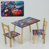 Столик и два стульчика деревянные Тачки