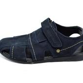 Сандали мужские нубук Multi Shoes Polo синие (реплика)