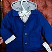 Пиджак на 9 мес и рубашка с капюшоном