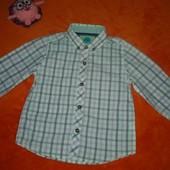Фирменная стильная рубашка Next на 1-2 года
