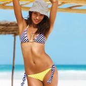 Яркий купальник Victoria's Secret оригинал р.М в полоску морской морская расцветка сине-белый шторки
