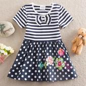 Платье с цветами TM Neat (верх-полоска, низ-горох)