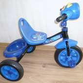Детский трехколесный велосипед Bambi Синий с корзинкой и свето-музыкальными эффектами