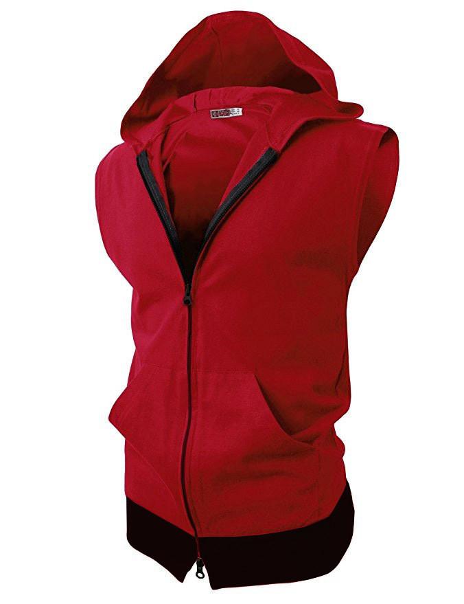 Спортивная жилетка с капюшоном красный фото №1