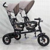 Трехколесный велосипед для двойни с фарой Azimut Crosser Twins Air М-300 (бежевый)