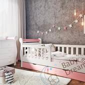 Кровать детская для девочки от 3 лет с бортиками белая с розовым