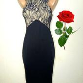 Платье миди по фигуре с кружевной вставкой р 12 ax paris