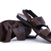Мужские коричневые сандали-шлёпки