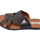 Шлепанцы мужские Adidas Style 126 коричневые (реплика)