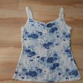 14-16 Bhs синие цветы на кремовом кружеве
