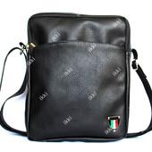 Мужская сумка черного цвета через плечо  N 12