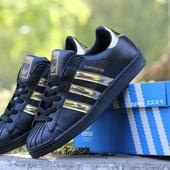 Кроссовки Adidas Superstar Black gold