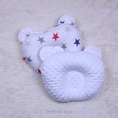 Двухсторонняя эрго подушка детская ортопедическая минки + хлопок