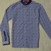 Модная приталенная новая рубашка в принт,  дорогого бренда Bewley Ritch (Турция), р.М