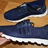 Мужские кроссовки,кеды текстиль+сетка темно-синие .