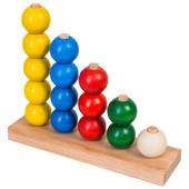 Деревянная пирамидка-счет Цветные шарики в коробке, Тато