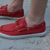 Мужские топсайдеры кеды мокасины тканевые красные бордовые