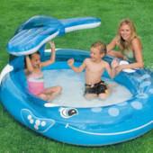 Надувной бассейн с фонтаном веселый кит Intex 57435