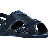 Сандалии мужские черного цвета с синими вставками (БС-024ч)