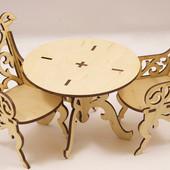 """Красивый набор резной мебели """"Стол + 2 кресла"""" для Барби (кукол около 30см)"""
