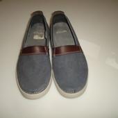 Clarks Туфли мокасины р 10 G, наш 44 р, стелька 29 см на невысокий подъем  текстиль+ кожа в идеале,