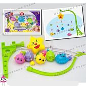 Детская заводная карусель мобиль Рыбки, 5 игрушек с погремушками, заводной механизм