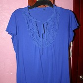 Синяя трикотажная блузка с шифоновыми рюшами 18 европ от Bhs , Англия.