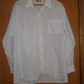 Белая рубашка длинный рукав большой размер ворот 48см