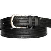 Мужской ремень черного цвета с перфорацией (П-055)