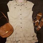 Платье сафари с игривым оформлением юбки
