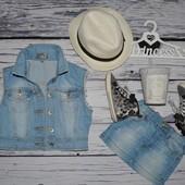 9 - 10 лет 140 см Обалденная фирменная жилетка жилет джинсовая