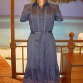 Платье летнее хлопковое\хлопок с кружевом р.6-8  Naf-Naf