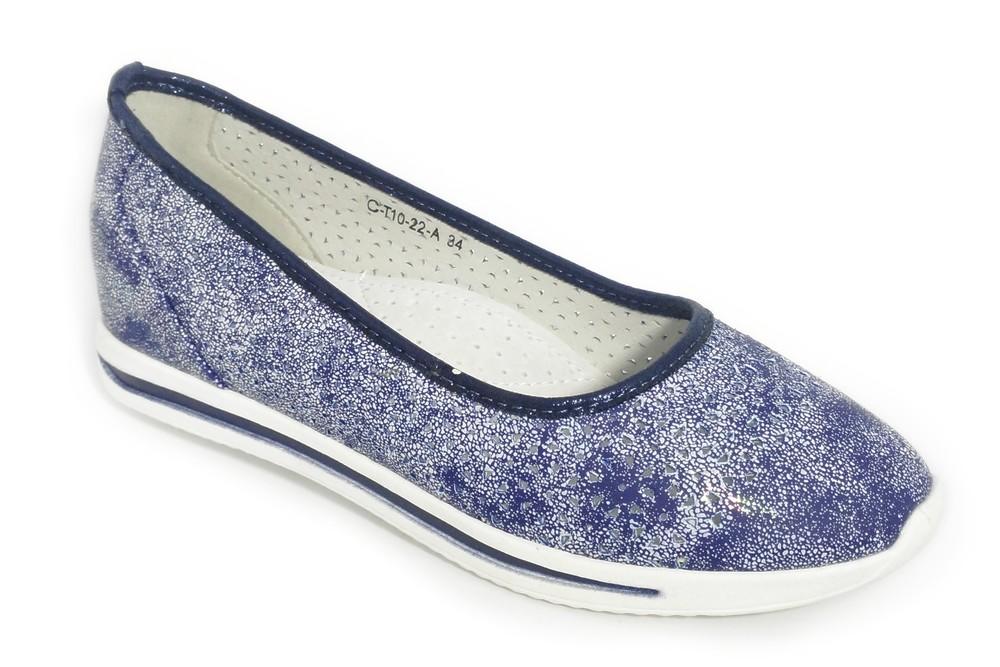 Туфли на танкетке для девочки летние, синие хамелеон, c-t10-22-a  фото №1