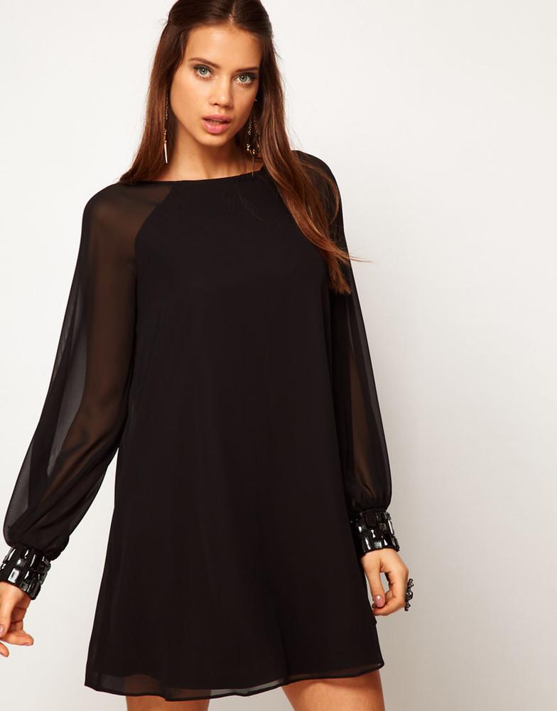 Фото чёрное платье из шифона