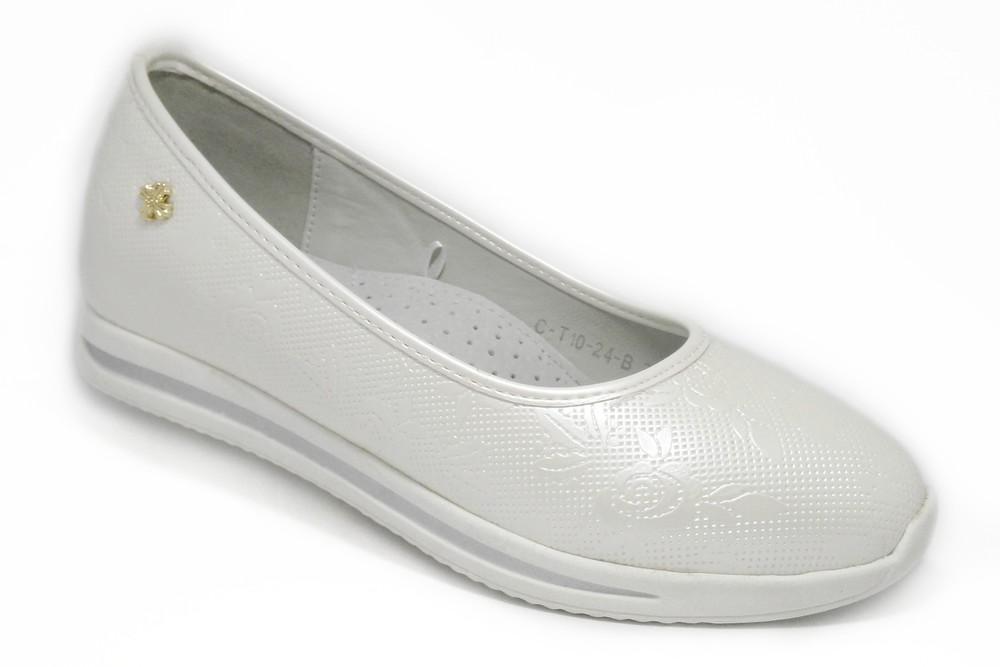 Туфли на танкетке для девочки, белые фото №1