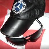 Фирменная стильная кожаная кепка Mersedes м-л .